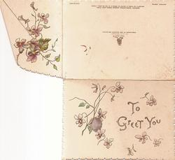 TO GREET YOU in gilt right, violets around, embossed