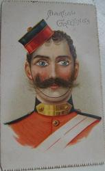 soldier, red uniform, eyes look front  MARTIAL GREETINGS