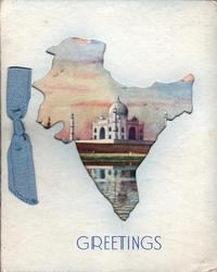 GREETINGS in blue below cut-out in shape of India