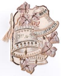 JOY BELLS three gilt & silver bells with bronzed ivy