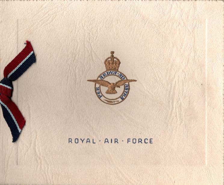 NOCTON HALL (inside) ROYAL AIR FORCE below gilt & blue crest & motto, ribbon applique (front)