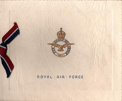 NOCTON HALL (inside) ROYAL AIR FORCE below gilt & blue crest & motto, ribbon applique (front)