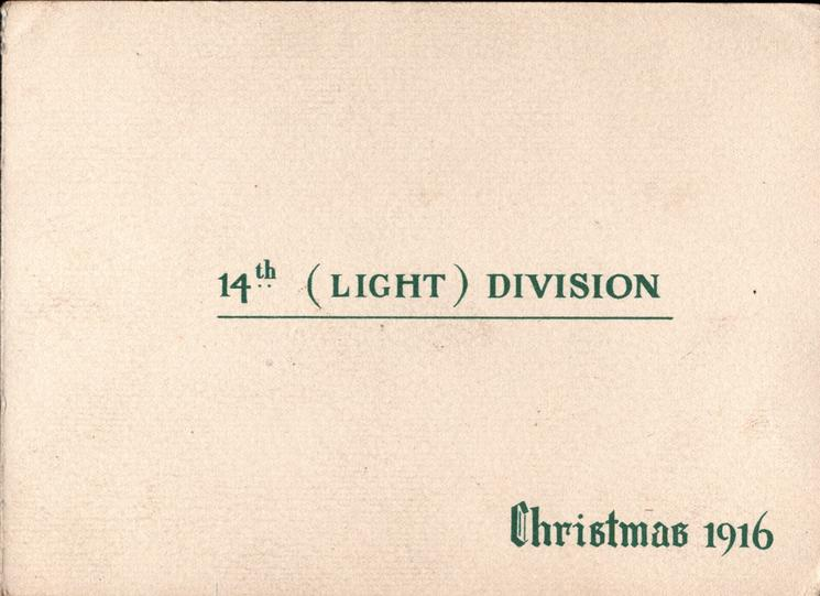 14TH. (LIGHT) DIVISION, CHRISTMAS 1916