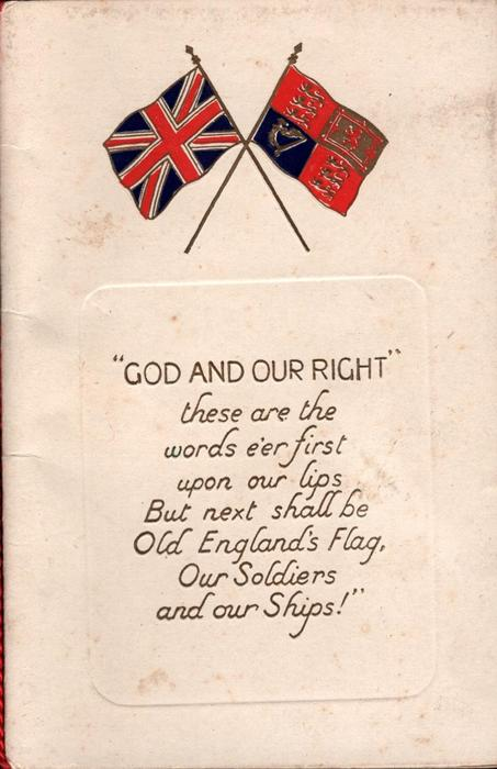 GOD AND OUR RIGHT Union Jack and flag, EDMONTON insert