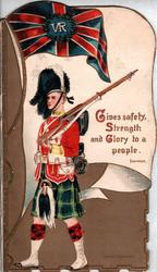 GORDON HIGHLANDERS  VR over Union jack, GIVES SAFETY, STRENGTH AND GLORY TO A PEOPLE