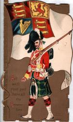 GORDON HIGHLANDERS  United Kingdom ensign, ACT WELL YOUR PART, THERE ALL THE HONOUR LIES