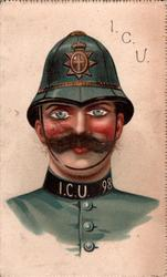 policeman, blue uniform I.C.U. 98 on collar, eyes look front