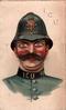 policeman, blue uniform I.C.U. 98 on collar, eyes look front