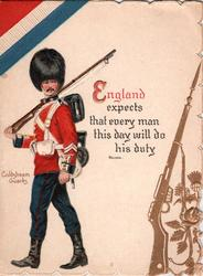 COLDSTREAM GUARDS, guardsman below red, white & blue, gilt thistle & rifle ENGLAND EXPECTS THAT EVERY MAN THIS DAY WILL DO HIS DUTY