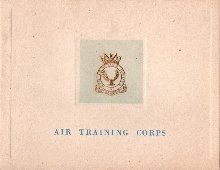 AIR TRAINING CORPS  gilt embossed crest & motto on pale blue inset