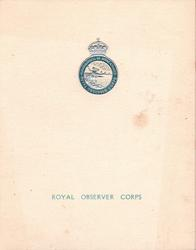 ROYAL OBSERVER CORPS silver & blue crest & motto
