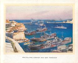MALTA --THE CONVOY HAS GOT THROUGH painting of Valetta harbour
