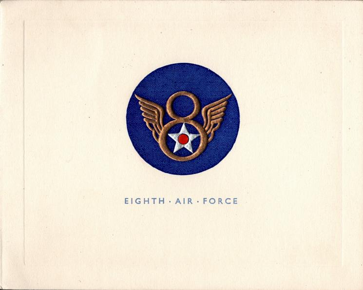 EIGHTH AIR FORCE gilt, silver & red crest in blue circle