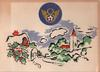 Eighth Air Force crest in blue circle over painting of snowy village, 100TH BOMBARDMENT GROUP (inside)