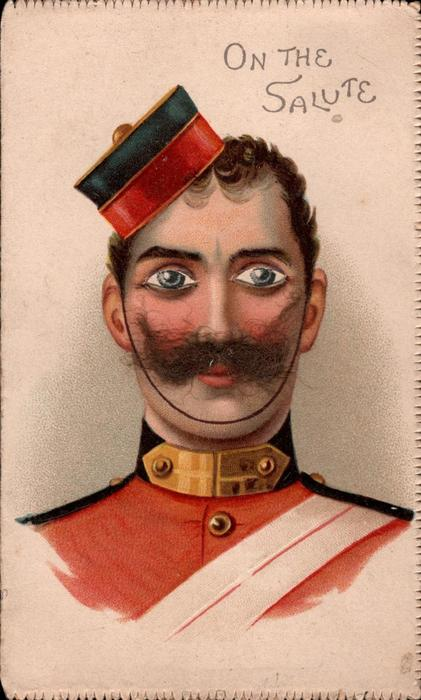 soldier, red uniform, eyes look front  ON THE SALUTE