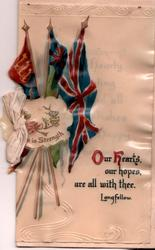three flags, rose in placard with UNION IS STRENGTH,  OUR HEARTS, OUR HOPES, ARE ALL WITH THEE