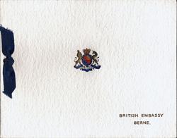 BRITISH EMBASSY  BERNE, gilt ,red & blue Royal crest