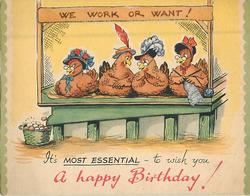 A HAPPY BIRTHDAY! 4 hatted hens, seated & socializing
