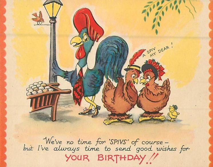 YOUR BIRTHDAY!!  rooster leans on lampost next to 2 hens and a chick