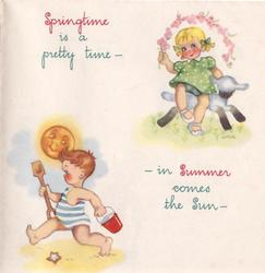 SPRINGTIME IS A PRETTY TIME ...  girl with lamb top right, boy at beach bottom left