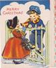 MERRY CHRISTMAS girl and boy speak across gate, girl holds holly