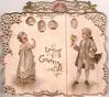 LOVING GREETINGS boy stands right & girl left, both dressed in white, stand facing each other