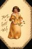 MANY A HAPPY WISH girl in golden dress stands facing front holding twig of mistletoe