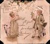 WITH MY LOVE TO YOU boy dressed in white on right fold offers blue flower to girl in yellow on left fold