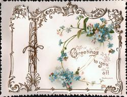 GREETINGS TO YOU ALL, sprays of blue forget-me-nots around, perforated gilt design