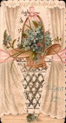 TO GREET YOU lower left, sprays of blue forget-me-nots in wicker basket in perforated window