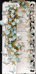 no front title vertical sprays of blue forget-me-nots & bells