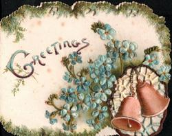 GREETINGS above sprays of blue forget-me-nots above bells lower right