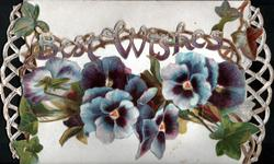 BEST WISHES in gilt above blue pansies on lower flap, ivy mostly on top