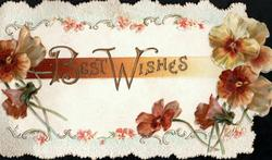 BEST WISHES surrounded by design of brown & yellow pansies