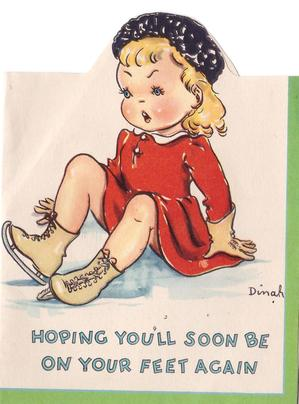 HOPING YOU'LL SOON BE ON YOUR FEET AGAIN girl sits, having fallen on ice skates