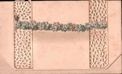 no front title, rope of blue forget-me-nots across perforated panel