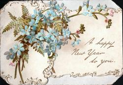 A HAPPY NEW YEAR TO YOU blue forget-me-nots & fern frond