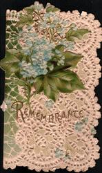 REMEMBRANCE in gilt below sprays of blue forget-me-nots in front of ivy, all in front of white perforated design