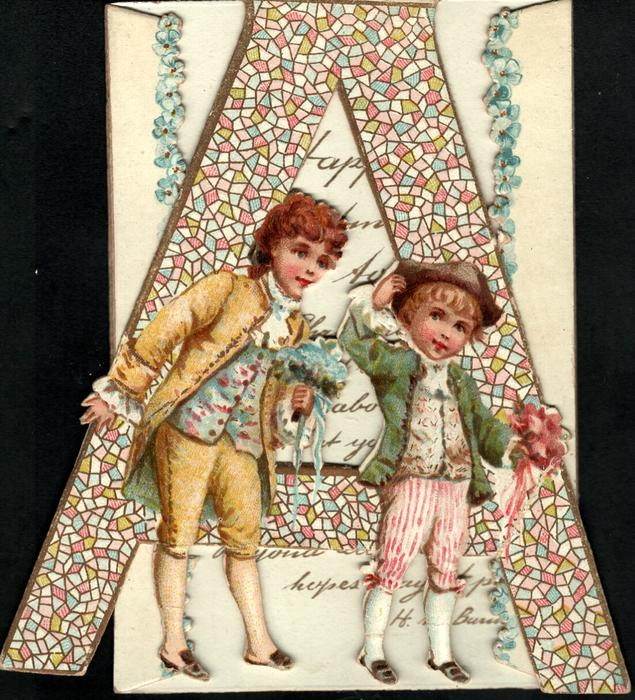 two boys in blue stand facing partly right carrying boquettes in front of very large  A