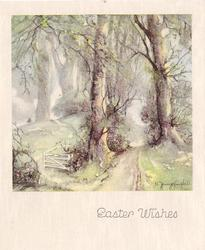 EASTER WISHES two prominent trees with path right, gate opening into meadow, left