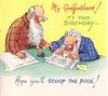 MY GODFATHERS! IT'S YOUR BIRTHDAY- HOPE YOU'LL SCOOP THE POOL two bearded men calculate the winning football formula
