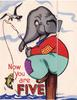 NOW YOU ARE FIVE elephant sits on pier fishing