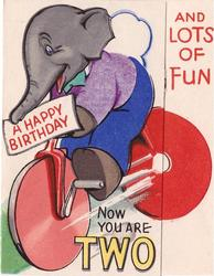 NOW YOU ARE TWO, A HAPPY BIRTHDAY elephant rides bicycle