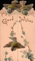GOOD WISHES in gilt  below two blue-birds, garlands of blue forget-me-nots, another bird below