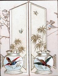 no front title, two humming-birds as design on vases, A HAPPY NEW YEAR TO YOU inside