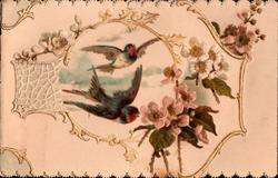 no front title, two swallows flying inset among wild roses MY HEART IS THINE inside