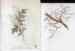 """""""FAIR THOUGHTS AND HAPPY HOURS ATTEND YOU"""" four stylized birds flying & on tree in gilt"""