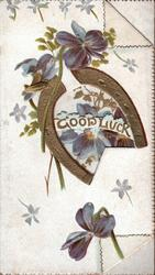 GOOD LUCK in gilt framed by gilt horse-shoe, purple violets around