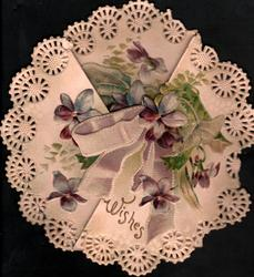 WISHES in gilt,violets & purple bow in circular design