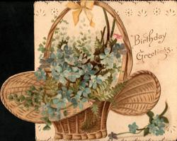 BIRTHDAY GREETINGS right, sprays of blue forget-me-nots in wicker basket right